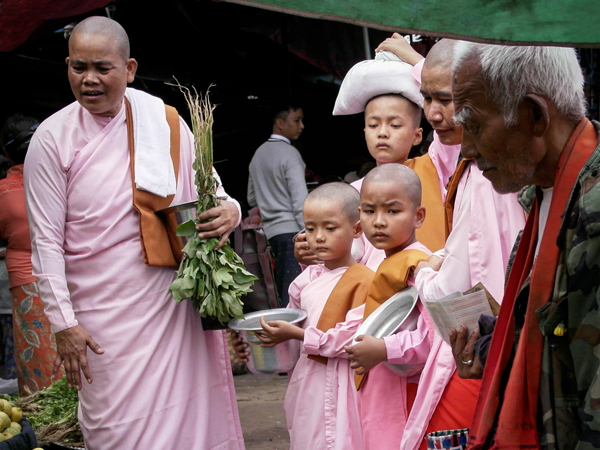 Local Buddhist monks in a market