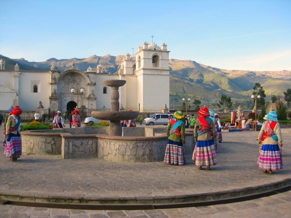 Local women and landscape in Cusco Peru