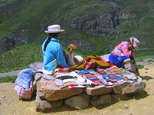 Local women selling crafts Inca trail Peru