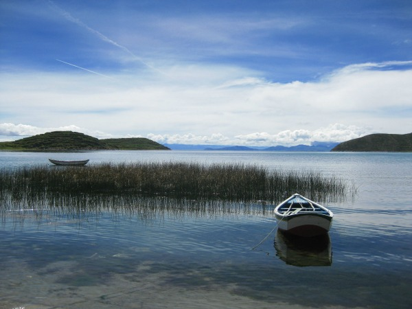 Small boat on Lake titcaca in Peru