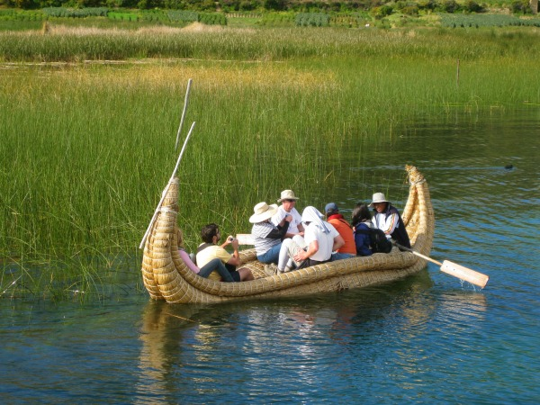 Reed boat on Lake Titicaca Peru