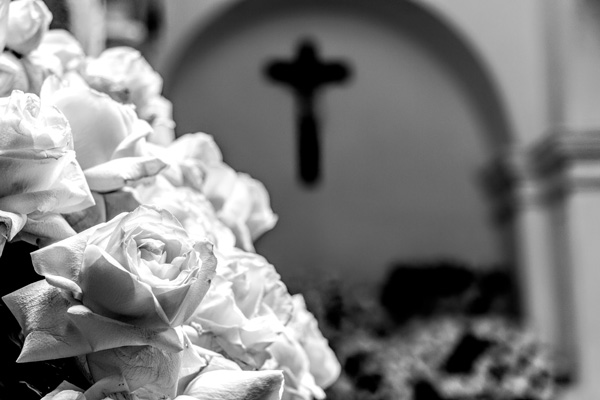 Black and white flowers church Salvador Brazil