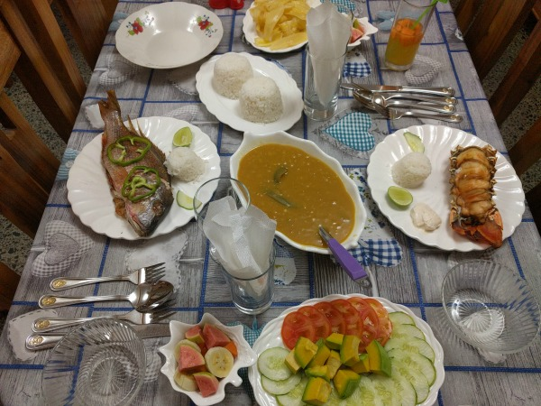 table of food in cuba