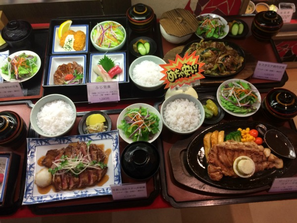 Food on table in Hiroshima Japan