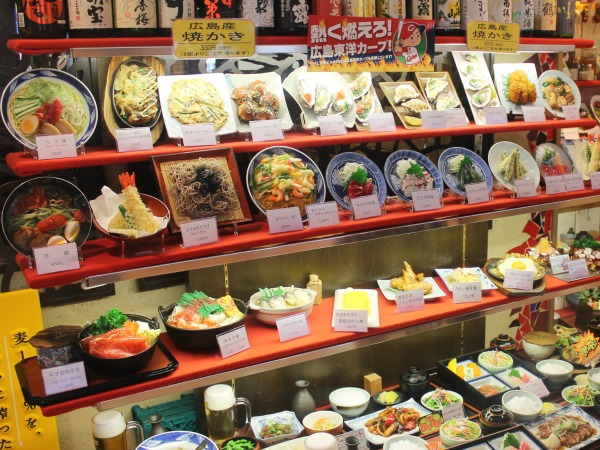 food on display in shop hiroshima japan