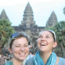 two women laughing at angkor wat cambodia