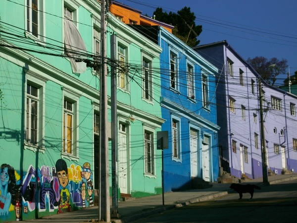 colourful buildings in valparaiso chile