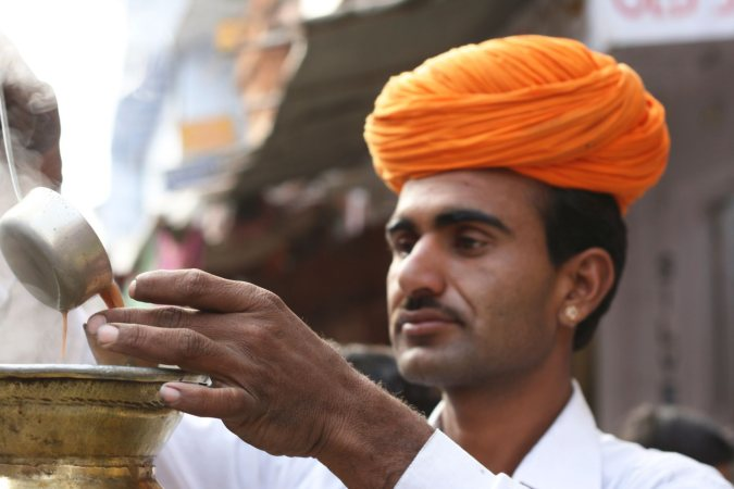 local man with tea in india