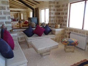 The lounge area of a salt hotel in Uyuni