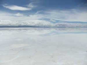 The bolivian salt flats during wet season