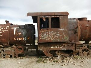 Exploring the train cemetery in Uyuni