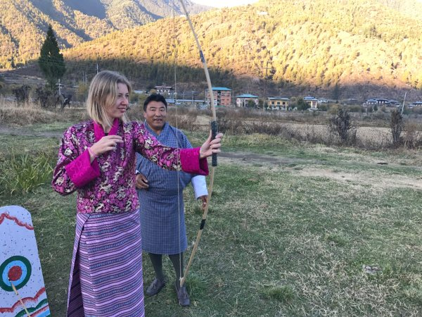 Customers in archery lesson in Bhutan