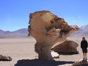 Man standing next to a rock in the atacama