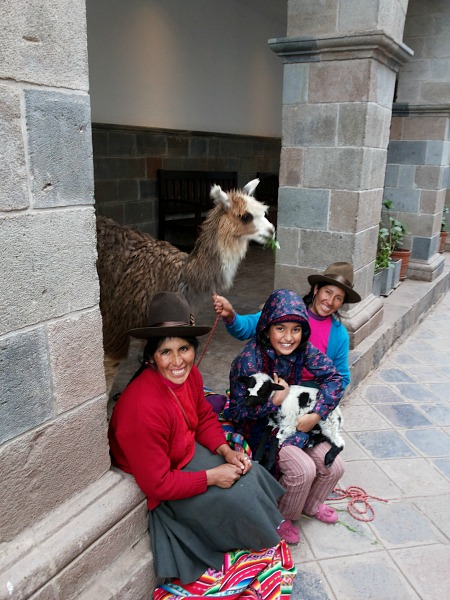 local people and llama in cusco peru