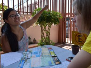 Local partner pointing out directions