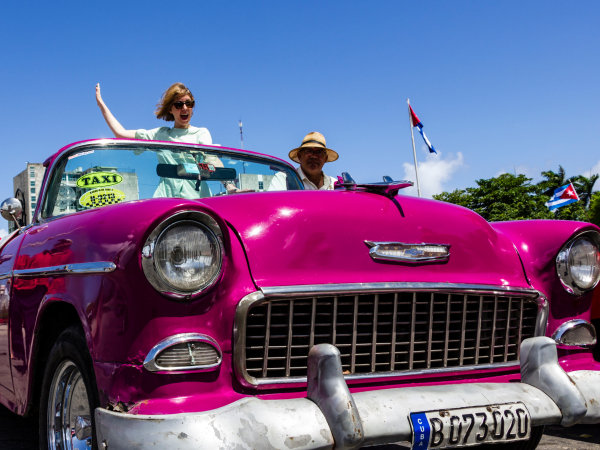 Kate on a classic car tour in Havana