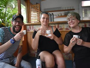 Ross, Jules and Cami drinking coffee in Las Terrazas