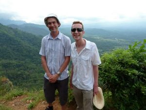 Couple in Java surrounded by landscapes