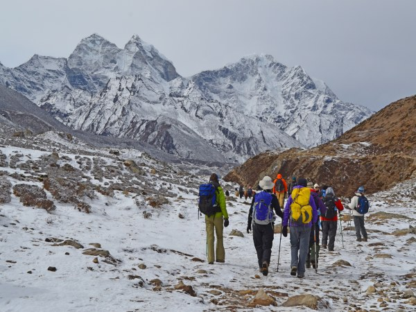 Group of trekkers at Everest base camp