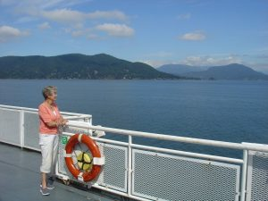 Customer on ferry in Quadra