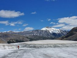 Mountain view at Icefield Parkway with person in background