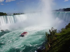 Niagara Falls view from top with boat