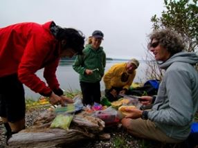 People setting up a picnic at Port McNeill