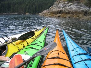 Group of Kayaks in Quadra Island