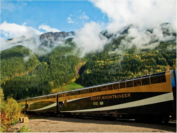 Close up of the Rocky Mountaineer Train