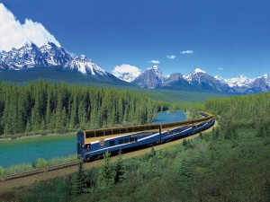 Rocky Mountaineer Train in the mountains