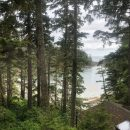 View over the beach from the balcony in Ucluelet, Canada