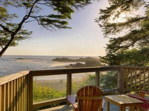 View outside of lodge, sea and sand