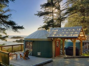 A Yurt with beach in the background