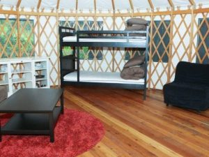 Inside a Yurt, bunk bed and furniture