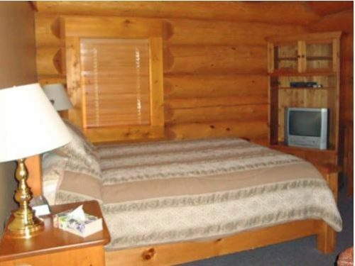 Bedroom with tv in Cabin