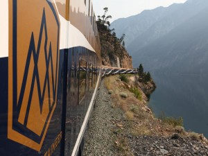 Side view of Rocky Mountaineer Train