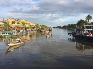 view of the river and boats in hoi ann