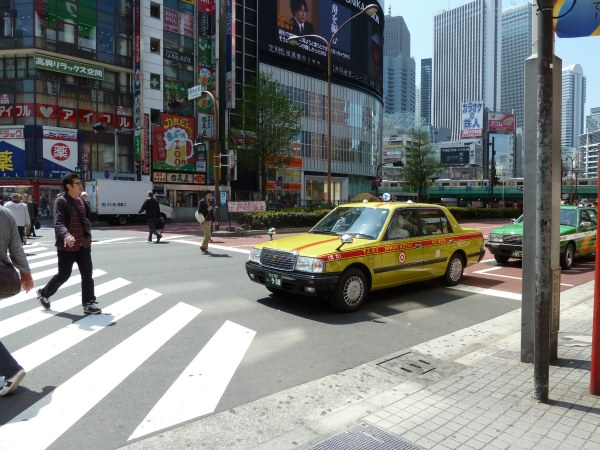 Yellow taxi in Tokyo