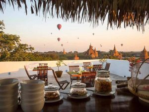 Sunset from a rooftop bar in Bagan