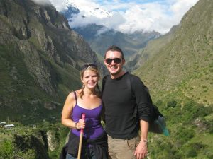 couple smiling on inca trail trek in peru