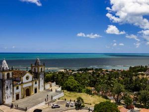 A colonial church and sea landscape in Brazil