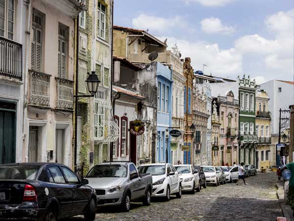 Colonial street in Brazil's historic city of Salvador