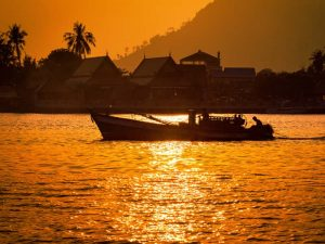 A fishing boat on the river in Kampot