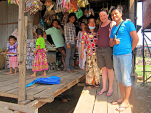 With the locals at the homestay on Tonle Sap lake in Cambodia