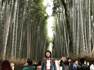 Travel specialist Paul standing in amongst the bamboo forest of Arashiyama