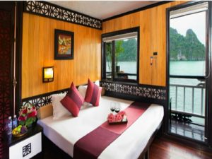 double bed on a Chinese junk boat cruise