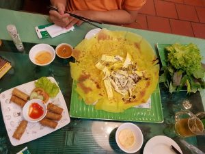 Vietnamese pancakes and spring rolls