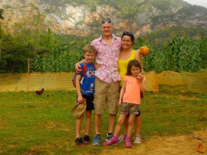 Family with two kids at the tobacco fields
