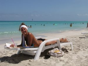 Lady on the beach in Varadero