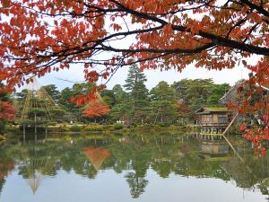 Traditional Japanese lake and garden in Kanazawa